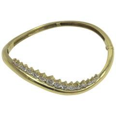 "Honora 1.77 Carat Diamond Bangle ""Wave"" Bracelet"