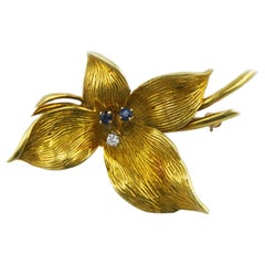 Honora 18 Karat Gold Sapphire and Diamond Lily Brooch