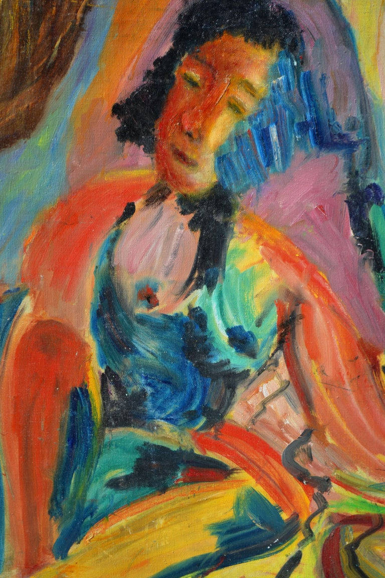 Mid Century Multi-Color Abstract Expressionist Nude Figure  - Painting by Honora Berg