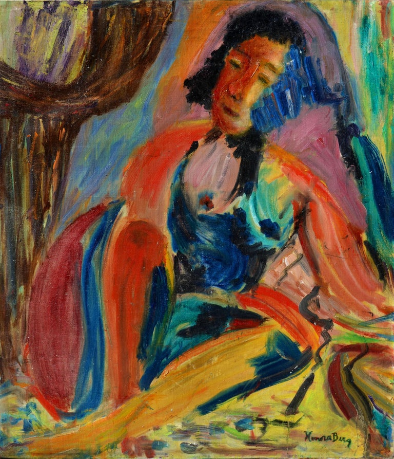 Honora Berg Nude Painting - Mid Century Multi-Color Abstract Expressionist Nude Figure