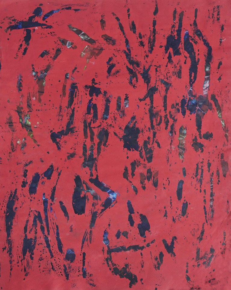 Red & Black Abstract - Mid Century Modern Abstract Expressionist  - Painting by Honora Berg