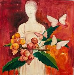 Belles Pommes ,American Artist, Figurative Painting, Floral, Framed Plexiglass