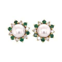 Honora Pearl Diamond and Emerald Gold Stud Earrings Fine Estate Jewelry