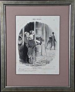 """19th Century Honore Daumier Caricature """"Une Partie de Campagne"""""""