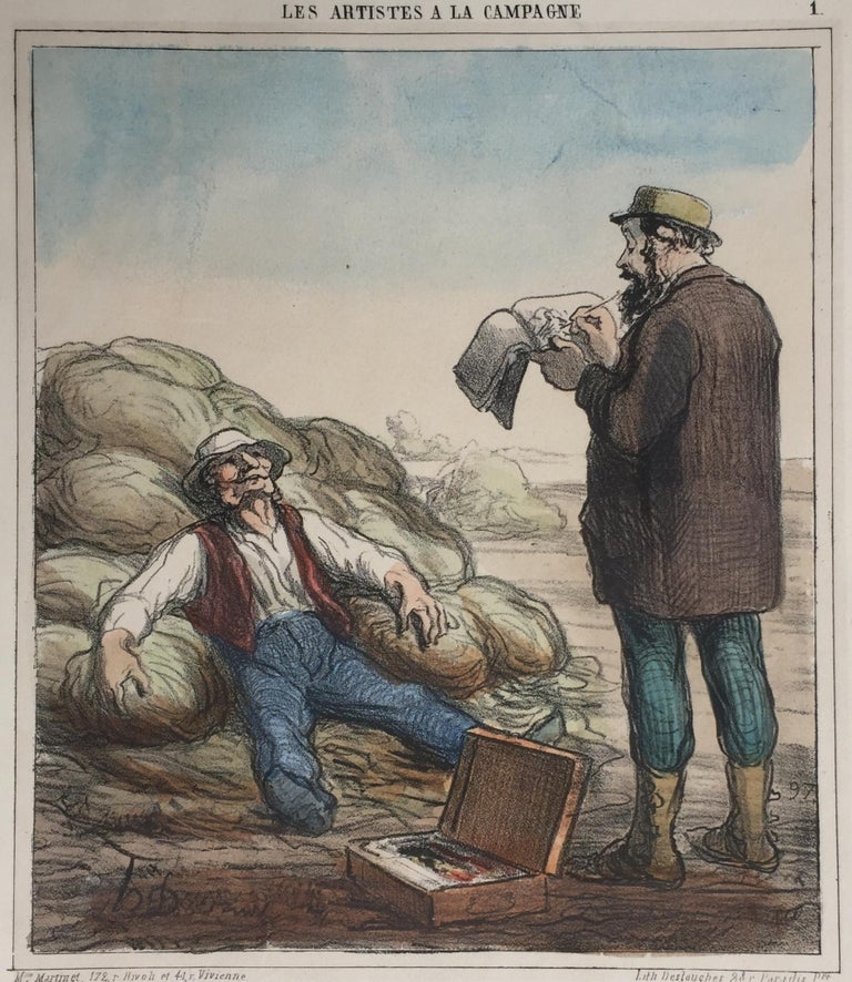 Honoré Daumier Figurative Print - ARTIST IN THE COUNTRYSIDE