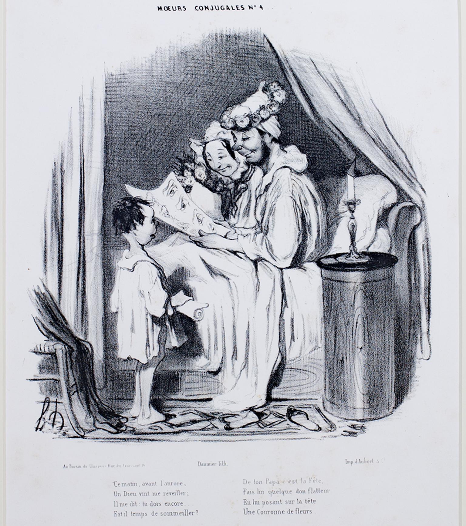 """Ce Matin Avant l'Aurore,"" Original Lithograph Genre Scene by Honore Daumier"