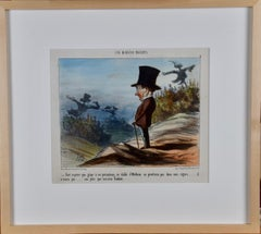 Daumier Colored Lithographic Satire of a Man Concerned for His Vineyard and Wine