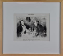 Daumier Satirical Lithograph Depicting French Men Tasting and Critiquing Wine