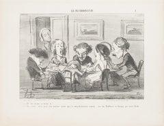 Eh! ben, m'sieu, ça tourne t'y? - Original Lithograph by H. Daumier - 1853