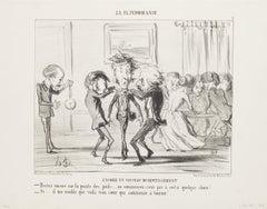 Encore un Nouveau Divertissement - Original Lithograph by H. Daumier - 1853