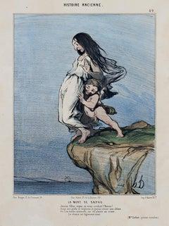 """""""Histoire Ancienne, La Mort de Sapho,"""" Hand-colored Lithograph by Honore Daumier"""