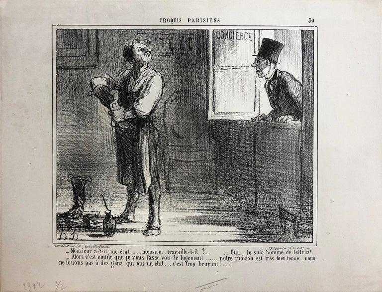 Honoré Daumier, Croquis Parisiens - Plate 30 - Realist Print by Honoré Daumier