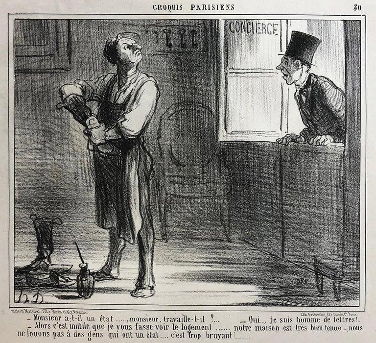 Honoré Daumier, Croquis Parisiens - Plate 30 - Print by Honoré Daumier