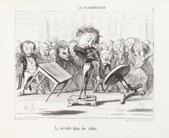 La Véritable dans des Tables - Original Lithograph by H. Daumier - 1853