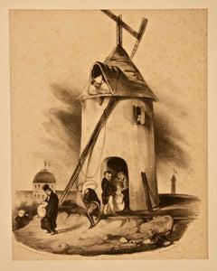 Le Moulin du Télégraphe (Nouvelles d'Espagne) - Lithograph by H. Daumier - 1830s