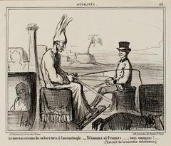 """""""Le Nouveau Costume Des Cochers-Actualites,"""" Lithograph by Honore Daumier"""
