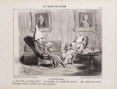 Le Retour à Paris - Original Lithograph by H. Daumier - 1852