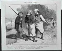 Les Canotiers Parisiens - Original Lithograph by Honoré Daumier - 1843