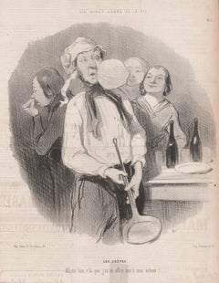 Les Crepes, French pancake cooking kitchen lithograph by Honore Daumier, 1848