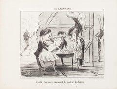 Les Tables Tournantes - Original Lithograph by H. Daumier - 1853