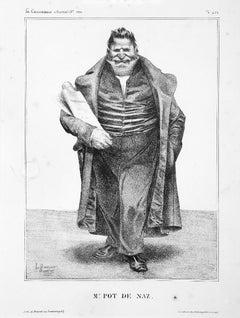 M. Pot de Naz - Original lithograph by Honoré Daumier - 1833