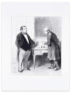 Monsieur Par suite De La Fusion... - Lithograph by H. Daumier - 1845