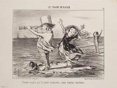 Parisiens Surpris par la Marée - Original Lithograph by H. Daumier - 1852