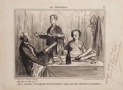 Qu'est-ce-que ça? (…) - Original Lithograph by H. Daumier - 1858