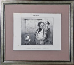 """Rare 19th Century Honore Daumier Caricature from the """"Types Parisiens"""" Series"""