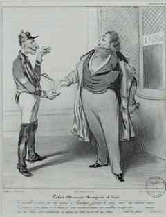 """Robert Macaire Banquier et Jure,"" original lithograph by Honore Daumier"