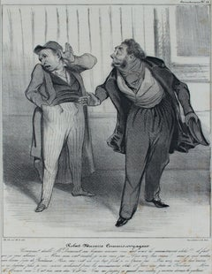 """Robert Macaire Commis Voyageur,"" original lithograph by Honore Daumier"