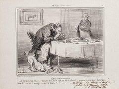 Scêne d'Hippophagie - Original Lithograph by H. Daumier - 1857