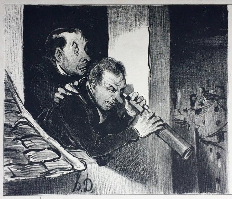 "Honoré Daumier Figurative Print - ""SPYING  ON A WOMAN'S CORSET"""