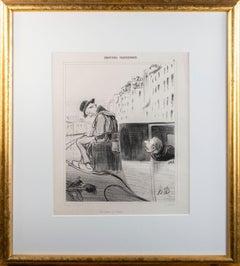 'Un Fiacre A L'Heure (Emotions Parisiennes)' original lithograph by H. Daumier