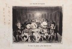 Un Train de Plaisir - Original Lithograph by H. Daumier - 1852