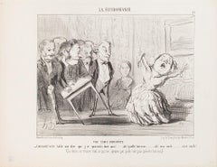 Une Table Indiscète - Original Lithograph by H. Daumier - 1853