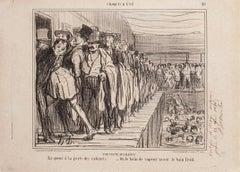 Une Visite Aux Bains - Original Lithograph by H. Daumier - 1858