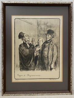 Vintage Framed Lithograph by Honore Daumier