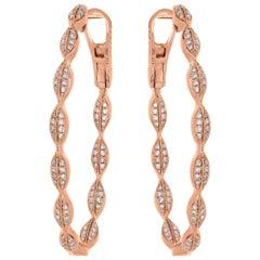 Hoop Diamond Earring in 18 Karat Rose Gold