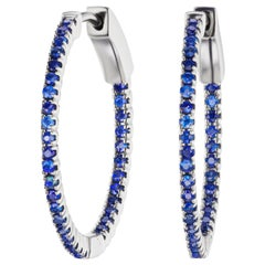 Hoop Earring with Blue Sapphire in 18K White Gold