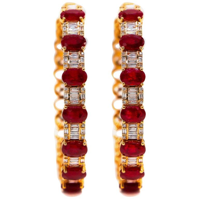 Hoop Earrings 8.39 Carat Rubies and 1.14 Carat Diamonds 18 Karat Gold For Sale