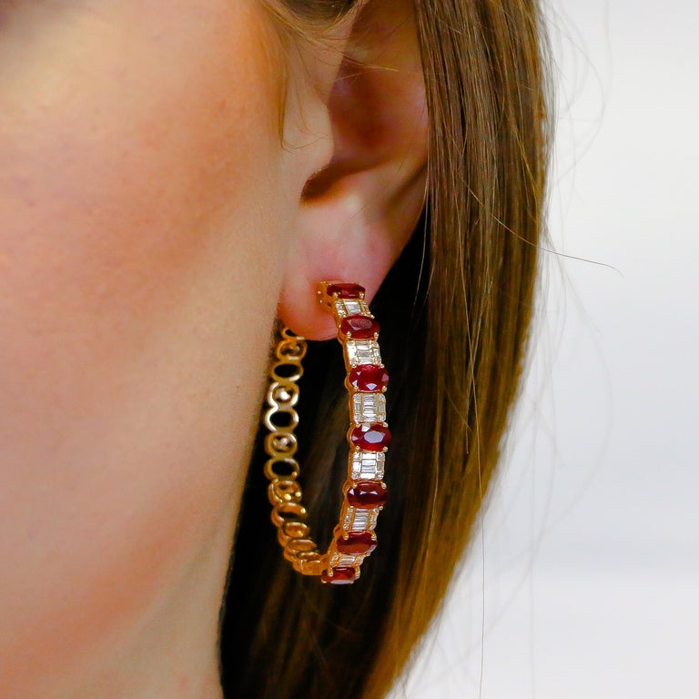 Oval Cut Hoop Earrings 8.39 Carat Rubies and 1.14 Carat Diamonds 18 Karat Gold For Sale