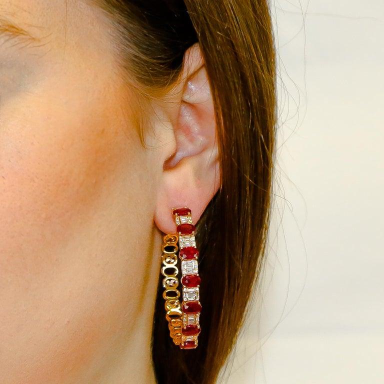 Women's Hoop Earrings 8.39 Carat Rubies and 1.14 Carat Diamonds 18 Karat Gold For Sale