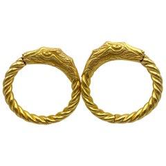 Hoop Earrings Handmade 18 Karat Gold 26.9 Grams