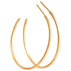 Hoop Earrings in Yellow Gold with White Diamonds by Allison Bryan