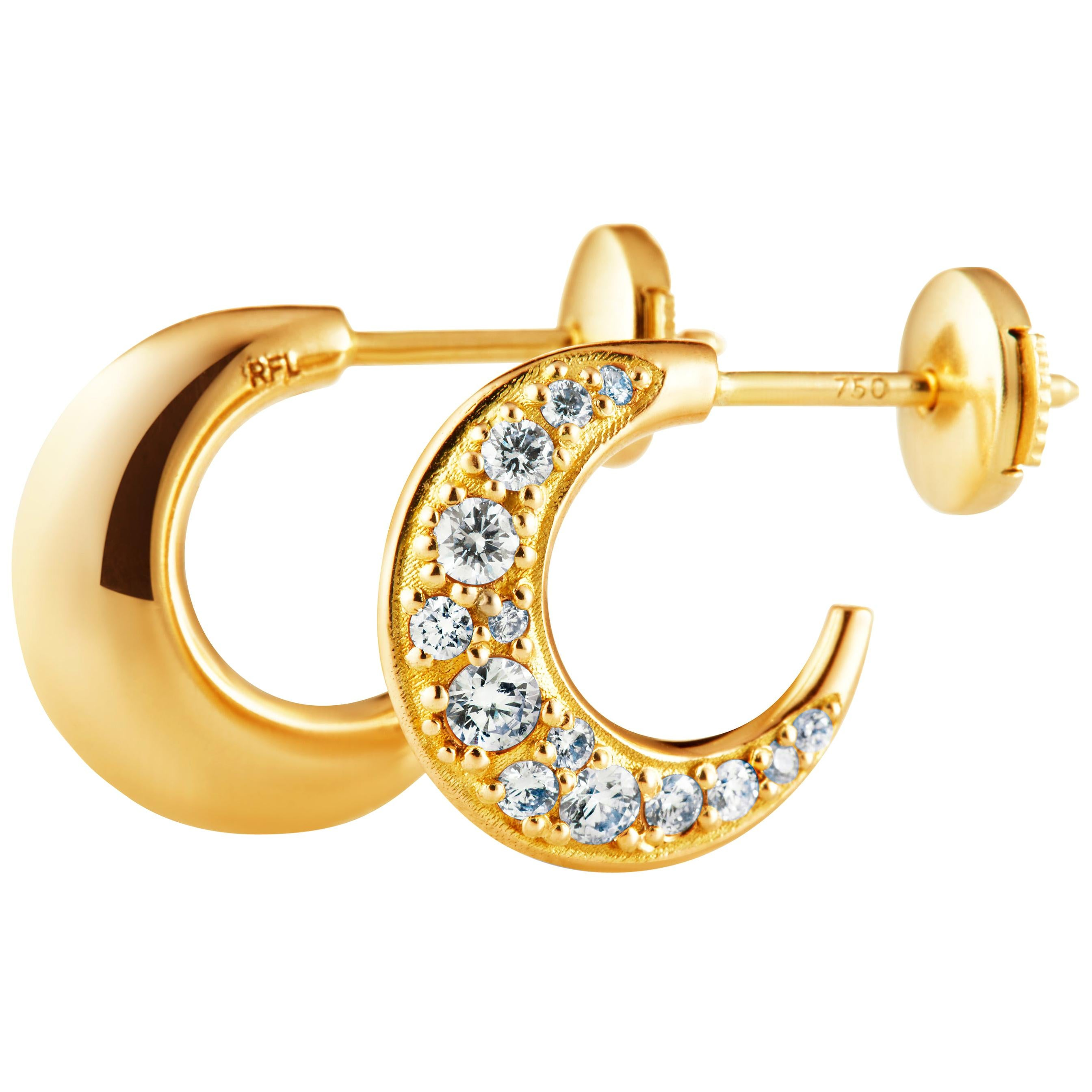 Hoop Earrings Size S 18 Karat Gold with Traceable Diamonds by Rocks for Life