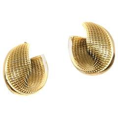 14 Karat Yellow Gold Hoop Earrings, Small Mobius, NETLINE Fine Jewelry.