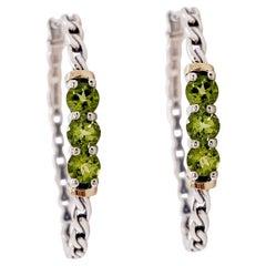 Hoop Silver Earrings Sterling Silver Green Peridot Hoop Earrings