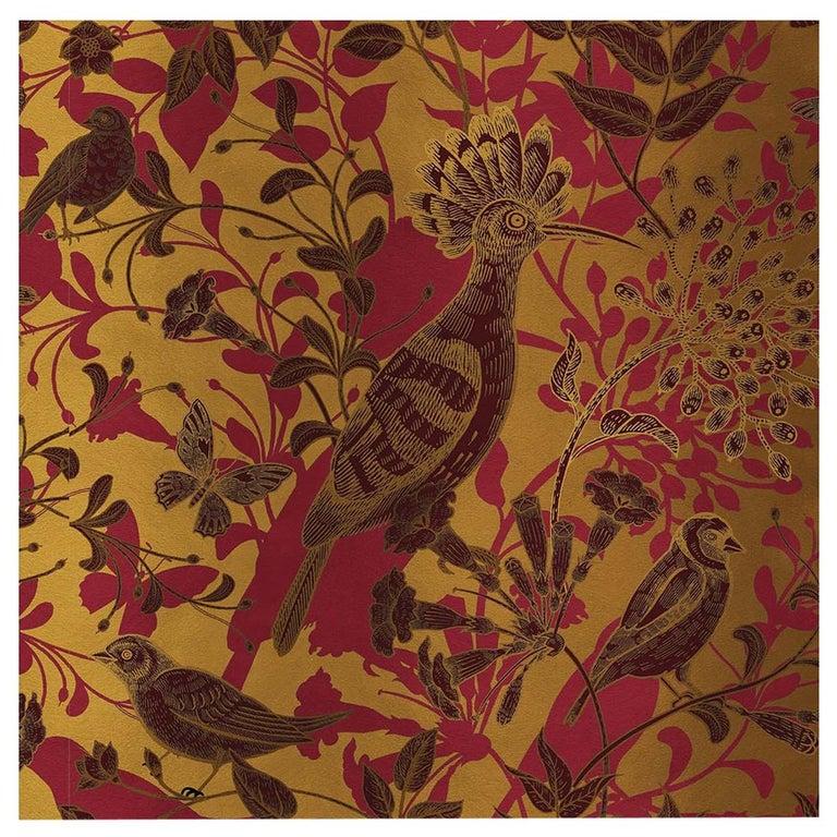 Hoopoe Birds Gold Panel #2 For Sale