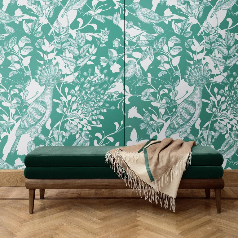 In this mesmerizing decoration, a scene with European birds, flying butterflies, and delicate flowers is exquisitely depicted in green and grey. Of strong visual impact, this wall covering will be eye-catching in any interior, adding a dramatic